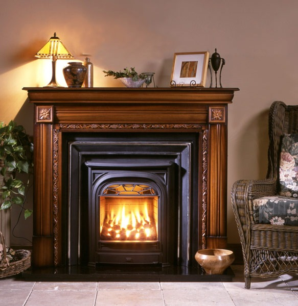 Spectacular Victorian Fireplaces by Valor include the Ornate Windsor Arch with Chrome highlights. the Classic arch