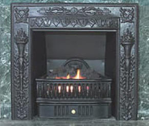 Authentic reproduction Cast Iron surrounds for existing coal burning fireplaces or for use with new fireboxes in new construction for that Victorian Fireplace look